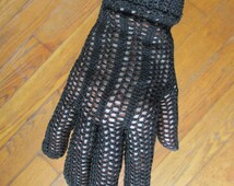 Vintage Black Gloves Crochet Crocheted 1950s Formal Glove Made in France Scalloped Edge Size L Medium Large