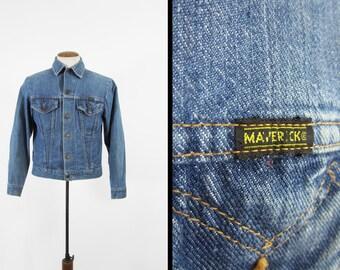 Vintage 70s Maverick Denim Jacket Distressed Blue Bell Made in USA - Size 40