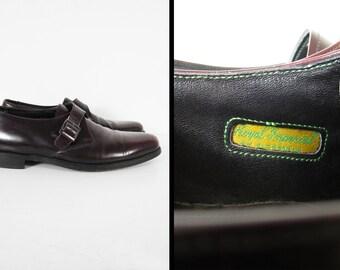 Vintage Florsheim Royal Imperial Shoes Monkstrap Brown Buckle Leather - Size 11 D