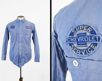 Vintage Chevrolet Mechanic Work Shirt Blue Cotton Twill Button Up - Size Small
