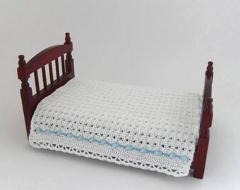 Dollhouse Miniature Single Bedspread, 1:12 Scale Hand Crocheted with White Crochet Cotton Trimmed with Blue Satin Ribbon and Thread