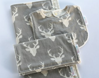 Deer Baby Gift Set, Minky Baby Bib and Burp Cloth Set, Security Blanket, Woodland Baby Shower Gift, Hello Bear Buck Forest Mist Antlers
