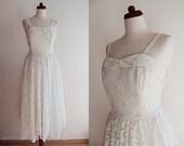 Wedding Dress - Vintage Lace Dress - White Lace Dress - 1970's White Wedding Dress - Size M