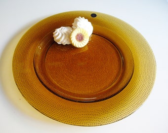 Vintage Glass Platter, Amber Yellow, Cristalleria Europa, Italy, Serving Plate, Round Platter