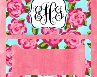 Monogram License Plate Lilly Pulitzer inspired with Matching Key Chain - Personalized License - Licence Tag - Custom License Frame - Car Tag