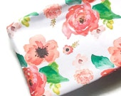 Changing Pad Cover Floral Dreams White- Floral Changing Pad- Coral Changing Pad- Girl Changing Pad Cover- Minky Changing Pad- Organic