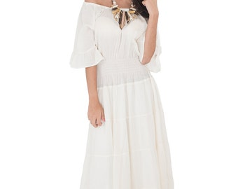 Maxi Dress - Cream Summer Dress -  Long Ecru Gauze Cotton Gown : Soul of the Orient Collection No.3