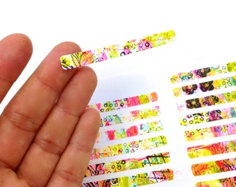 Original Mixed Media Art Stickers. 84 thin strips of Art Journaling Mixed Media Sticker Labels. Envelope sealers, Personal Stationery detail