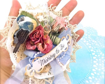 Mommy To Be Shabby Chic Corsage, Baby BOY Baby GIRL, Baby Shower Corsage, Blue Corsage for Baby Boy, Pink Corsage - Shabby Chic Shower Gifts