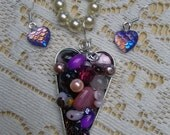 Heart pendant and earring set with glass pearl necklace