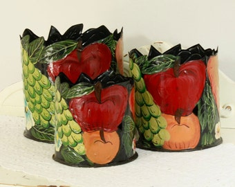 Set of Three(3) Metal Pots - Kitchen Decor - Decorative Garden Pots - Hand Painted Folk Art Containers - Fruit Decorated Buckets