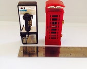 Vintage Acme Refrigerator Magnets - Pay Phone and Brittish Red Phone Booth