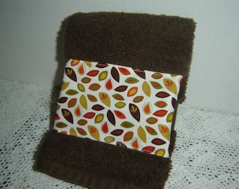 Chocolate brown hand/dish towel w/autumn leaves in rust, orange, mustard, green, autumn fall decor, 100% cotton terry, hostess gift, under10