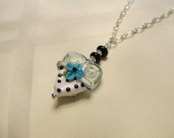 Polka Dot Heart Lampwork Bead Pendant Necklace 1