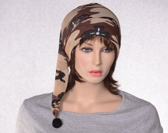 Glamping Nightcap Ladies Desert Camo Nightcap Lightweight Sleep Hat Long Pointed Elf Hat Stocking Cap