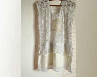 Women's cotton tunic, white sleeveless tunic, shabby tunic vest top, artsy openwork tunic, upcycled clothing, recycled tunic, romantic tunic