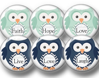 2 Digital Collage Sheets, Inspirational Sayings, Bottle Cap Images, Owls, 1 Inch Circles, Instant Digital Download, Cabochon, Pendant