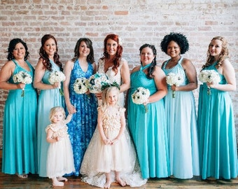 """RESERVED for Drea Nelson's Bridal Party -8 Custom """"Infinity"""" Dresses in Satin Jersey"""
