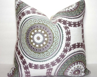 INVENTORY REDUCTION Decorative Lavender & Green Suzani Circle Geometric Pillow Cover Throw Pillow 18x18