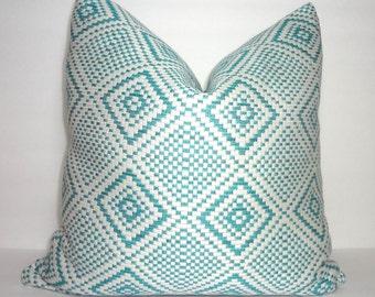 Blue Ivory Diamond Large Weave Pillow Cover Decorative Throw Pillow Diamond Geometric Pillow Cover  Size 18x18