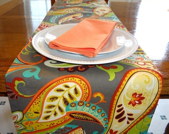 Covington Whimsy Paisley Table Runner Table Top Runner Wedding Table Runner Grey Teal Orange All Sizes