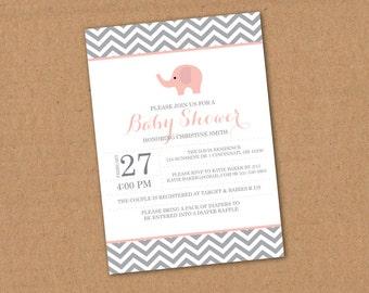 Elephant Baby Shower Invitation - Printable File. Chevron, Customizable, Baby Shower, Baby Boy or Girl, Baby Shower Poem