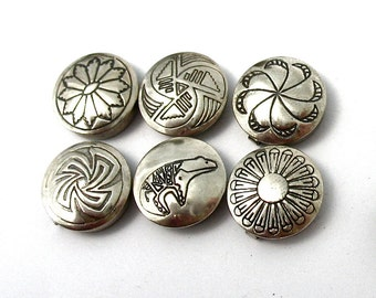 Vintage Sterling Silver Button Covers, set of six, Southwestern, Native American, Navajo designs, Bear, Flower, Shiny, Gift Idea, Excellent