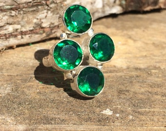 Green Tourmaline gemstone crystal ring with healing properties size 7 3/4 P