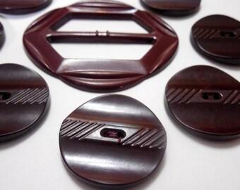 Bakelite Buttons, Brown Bakelite 1930/40s Coat Buttons, Vintage Sewing Notions, Vintage Buttons, Vintage Bakelite Belt Slide, Brown Buttons