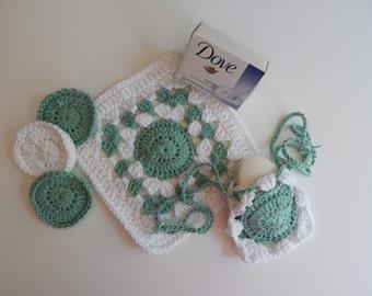 Spa Bath Set - Cotton Drawstring Soap Saver, Face Pads & Washcloth - Sage Green and White