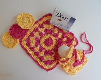 Spa Bath Set - Cotton Drawstring Soap Saver, Face Pads & Washcloth - Hot Pink and Yellow