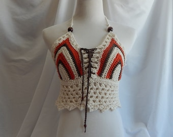 Crochet Halter Top - Sexy Lace Up Boho Festival Top With Beads - Orange and Brown