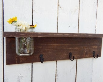 Rustic wood shelf, distressed shabby chic, Brown, cottage beach home decor,wall shelves