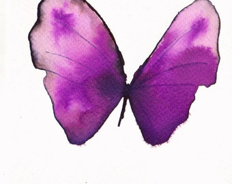purple magenta pink butterfly original watercolour painting