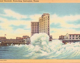 Galveston, Texas, Great Seawall - Linen Postcard - Unused (A1)