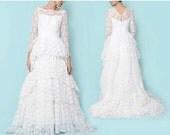 ON SALE Vintage 60s Lace Layered Long Sleeve Wedding Dress