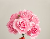SALE 10% OFF 12 Paper Flowers / One Dozen PINK Roses With Wire Stems / Bridal / Wedding Party / Bouquet / Decorations