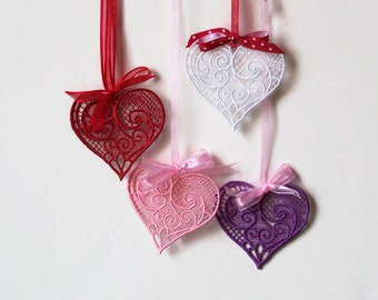 Beautiful Victorian Lace Hearts with Bows and Hanging Ribbons