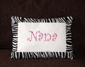 NANA name pillow with pink and zebra