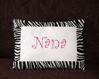 NANA name pillow with pink and zebra