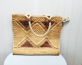 Vintage 1970s Raffia/Sea Grass Large Tan & Brown Mantessa Italy Handbag