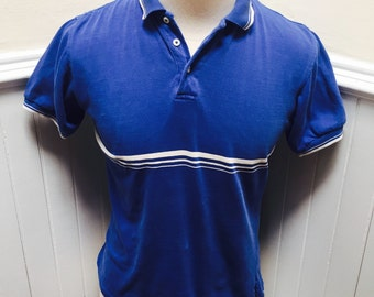 Vintage 1980s Navy Blue & White Striped Polo/Golf Shirt- M
