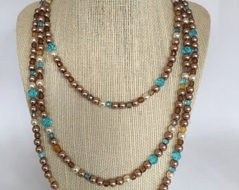 60inch Glass Pearl Necklace in Gold, Blue, and Ivory