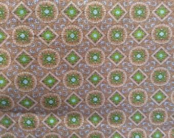 "Khaki Blue Green Velveteen Print Fabric Vintage 2 Plus Yards x 41"" Wide, Vintage Material, Vintage Textiles"