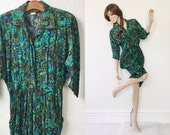RESERVED LISTING: Wiggle Dress M, Green Abstract, by Positive Influence, Vintage 1980's