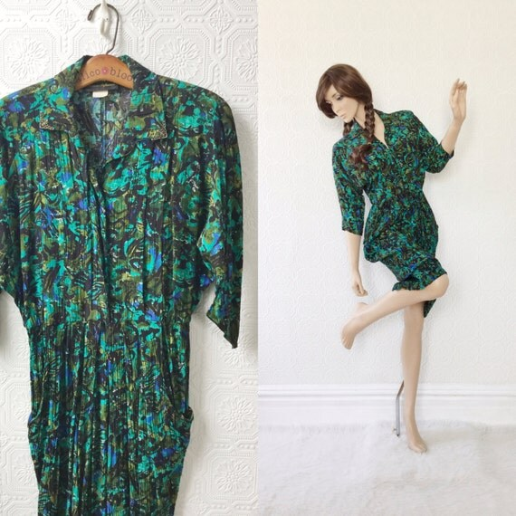 Wiggle Dress M, Green Abstract, by Positive Influence, Vintage 1980's