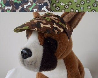 Dog visor, reversible (two fabrics), comfortable and colorful. V6   Can be personalized.