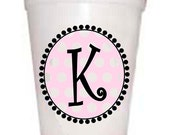 Initial Styrofoam Cups with Pink Polka Dot Design-10 each 16oz