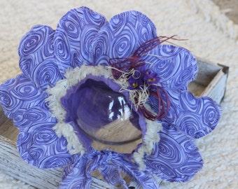 Deep Purple Flower Bonnet, Sitter Flower Bonnet
