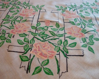 Sheer Floral Tablecloth Vintage Kitchen White Table Cover Painted Flowers Pink and Green